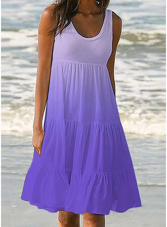 Ruffles Gradient Strap Round Neck Sports Casual Cover-ups Swimsuits