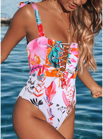 Tropical Print Knotted Cross Strap Halter Sexy Bohemian Eye-catching One-piece Swimsuits