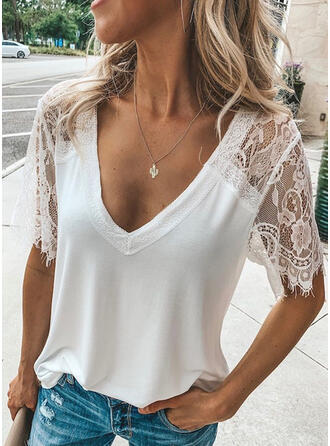 Solid Lace V-Neck Short Sleeves Casual Sexy Blouses