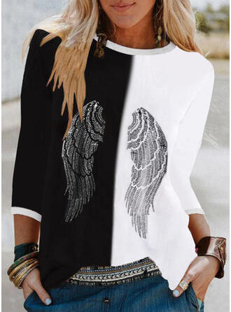Color Block Print Round Neck 3/4 Sleeves T-shirts