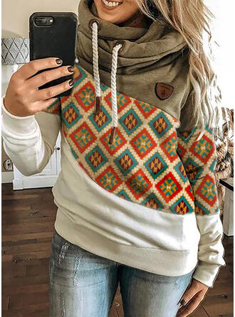 Color Block Geometric Print Long Sleeves Hoodie