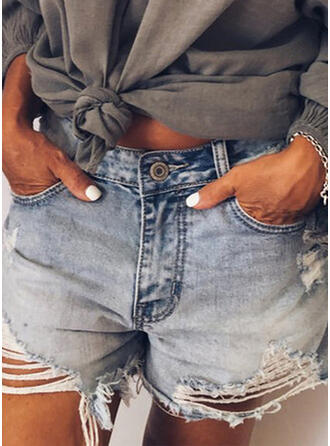 Pockets Shirred Plus Size Above Knee Casual Sexy Shorts Denim & Jeans