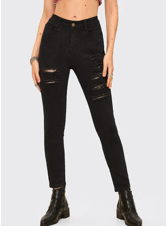 Solid Ripped Long Sexy Skinny Denim & Jeans
