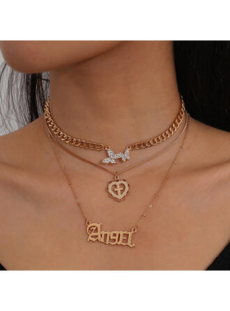 Fashionable Sexy Vintage Layered Alloy Rhinestones With Butterfly Heart Rhinestones Women's Ladies' Necklaces 3 PCS