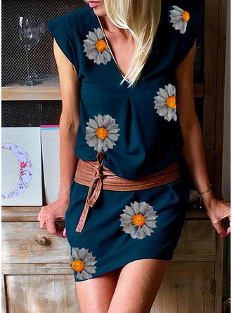 Print/Floral Cap Sleeve Sheath Above Knee Casual/Vacation Dresses