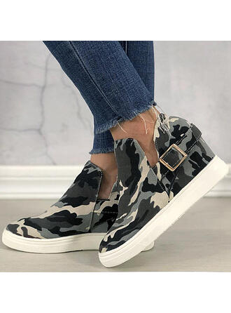 Women's Canvas Flat Heel Flats Low Top Round Toe Slip On With Splice Color shoes