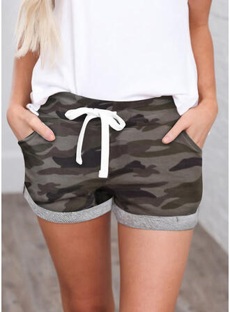 Shirred Camouflage Mini Casual Sporty Shorts