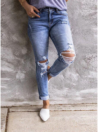 Pockets Shirred Ripped Long Casual Sexy Denim & Jeans