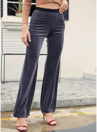 Solid Shirred Casual Elegant Sexy Yoga Pants