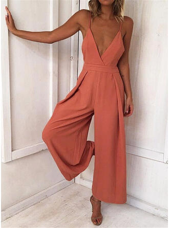 Solid Spaghetti Strap Sleeveless Casual Vacation Sexy Jumpsuit