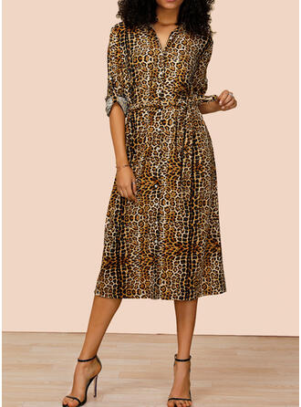 Leopard Long Sleeves A-line Shirt Casual Midi Dresses