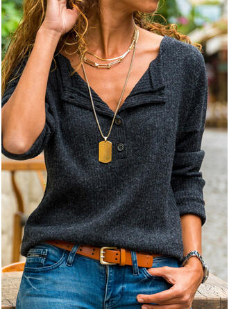 Solid Knit V-Neck Long Sleeves Dropped Shoulder Casual Blouses