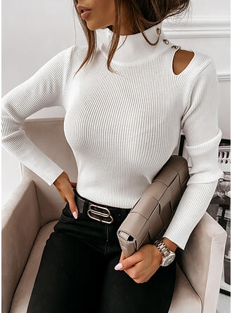 Solid Turtleneck Tight Sweaters
