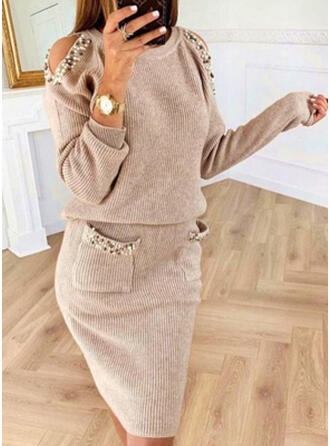 Solid Pocket Beaded Cold Shoulder Casual Long Sweater Dress