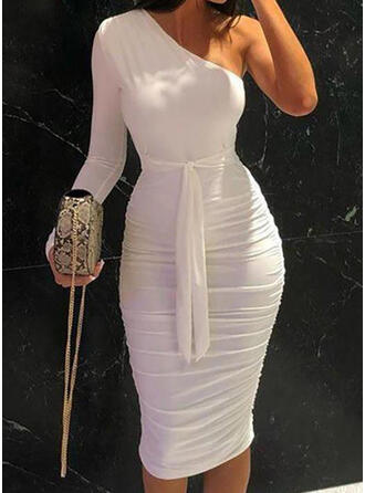 Solid Long Sleeves Bodycon Knee Length Party/Elegant Dresses