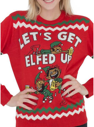 Polyester Print Letter Cartoon Ugly Christmas Sweater