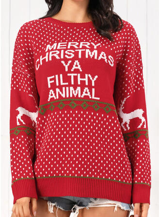 Polyester Print Reindeer Letter Ugly Christmas Sweater