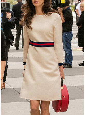 Striped Long Sleeves A-line Knee Length Casual/Elegant Skater Dresses