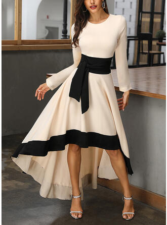 Color Block Long Sleeves A-line Asymmetrical Casual/Party/Elegant Skater Dresses