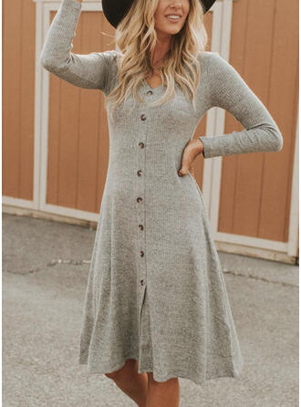 Solid Long Sleeves A-line Knee Length Casual Skater Dresses