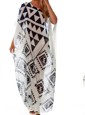 Geometric Off the Shoulder Beautiful Eye-catching Retro Cover-ups Swimsuits