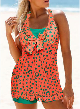 Dot Splice color V-Neck Strapless Colorful Eye-catching Tankinis Swimsuits