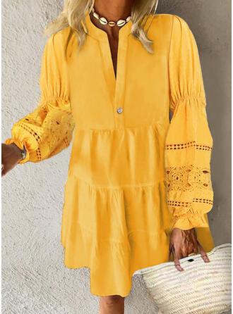 Lace/Solid Long Sleeves Shift Above Knee Casual/Vacation Dresses