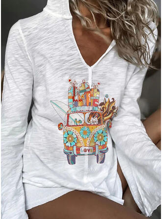 Print Long Sleeves Casual T-shirts
