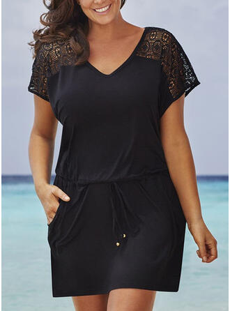 Lace/Solid Short Sleeves Sheath Above Knee Little Black/Casual/Vacation Dresses