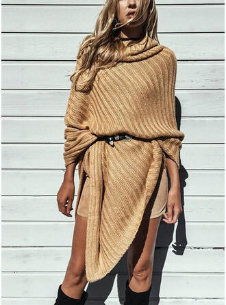 Solid Turtleneck Casual Long Sweaters