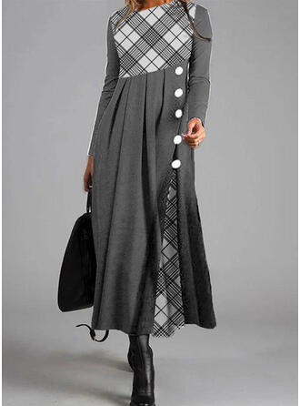 Plaid Long Sleeves A-line Skater Casual Maxi Dresses