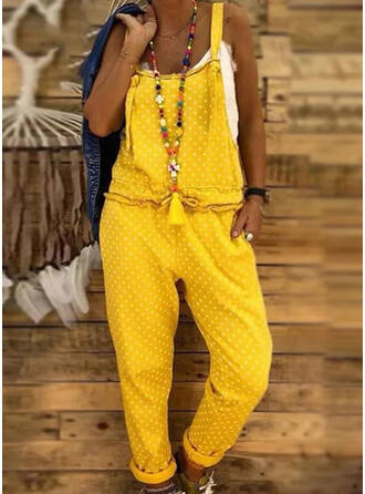Polka Dot Strap Sleeveless Casual Jumpsuit