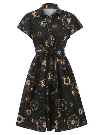 Print Short Sleeves A-line Knee Length Party/Halloween Shirt/Skater Dresses