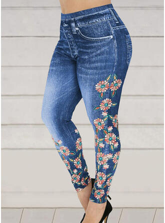 Floral Print Shirred Plus Size Sexy Sporty Yoga Leggings