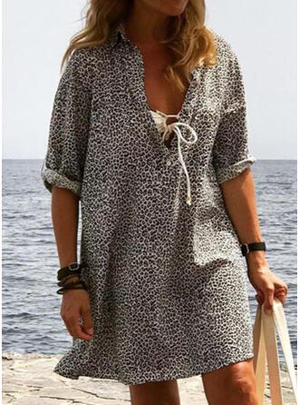 Leopard 1/2 Sleeves Shift Above Knee Casual/Vacation Dresses