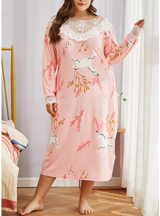 Polyester Lace Floral Plus Size Round Neck Long Sleeves Pyjama Set