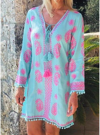 Print Long Sleeves Shift Above Knee Casual/Vacation Dresses