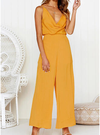 Solid V-Neck Sleeveless Casual Sexy Jumpsuit