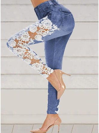 Lace Patchwork Plus Size Long Elegant Sexy Yoga Leggings