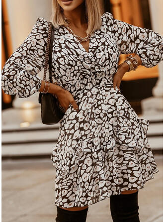 Print Long Sleeves/Puff Sleeves A-line Above Knee Casual Skater Dresses
