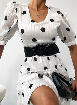 PolkaDot 1/2 Sleeves/Puff Sleeves A-line Above Knee Casual Dresses