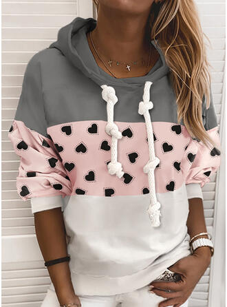 Print Color Block Hoodie Long Sleeves Casual T-shirts