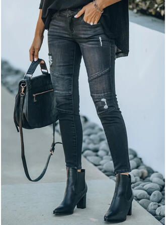 Solid Denim Long Casual Plus Size Office/Business Pocket Ripped Denim & Jeans