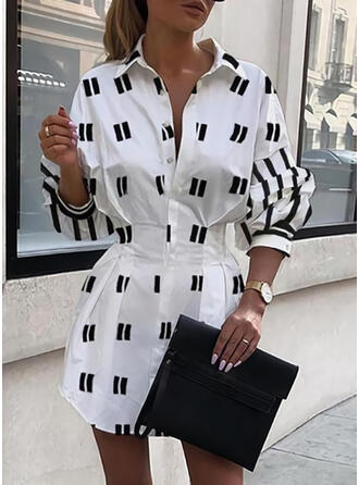 Print Long Sleeves/Puff Sleeves Sheath Above Knee Casual/Vacation Dresses