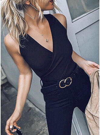 Solid V-Neck Sleeveless Sexy Blouses