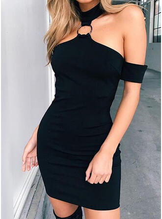 Solid Short Sleeves/Cold Shoulder Sleeve Bodycon Above Knee Little Black/Sexy/Party Dresses