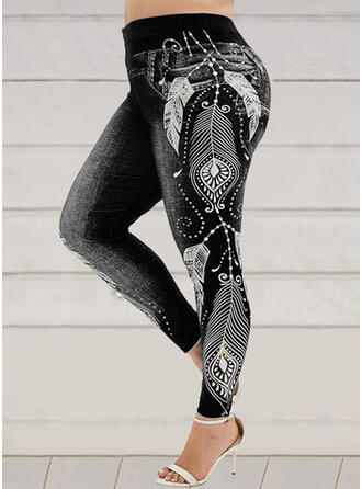 Print Shirred Plus Size Sexy Sporty Yoga Leggings