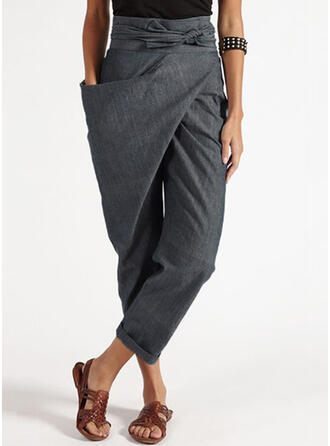 Patchwork Shirred Long Casual Solid Tribal Plain Pants