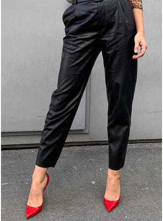 Solid Shirred Casual Leather Pants