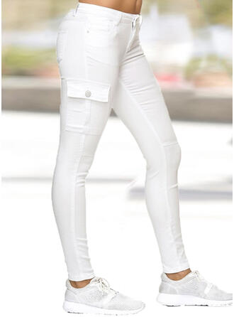 Solid Pockets Shirred Plus Size Long Casual Plain Pants